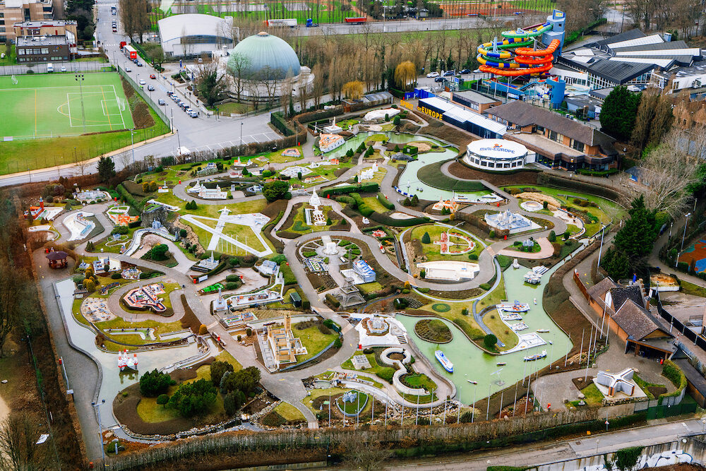 Brussels Belgium - : Mini-Europe theme park from above.