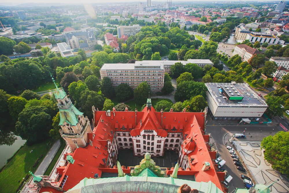 Beautiful super wide-angle summer aerial view of Hannover Germany Lower Saxony seen from observation deck of New Town Hall Hanover