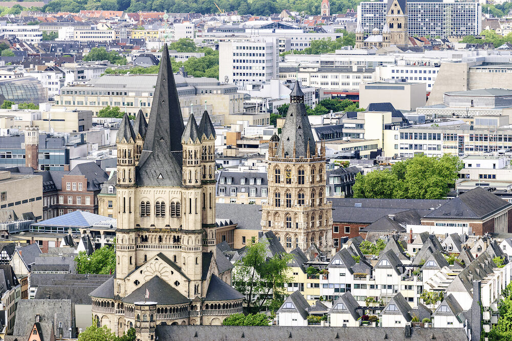 Cityscape of Cologne with church Gross St Martin in Germany