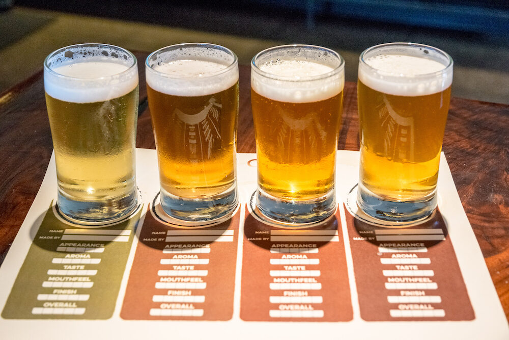 Craft beer tasting menu with small glasses