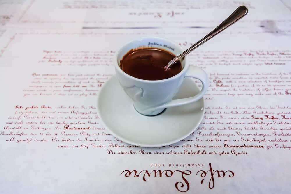 Prague Czech republic - : Cup of hot chocolate at the famous Café Louvre