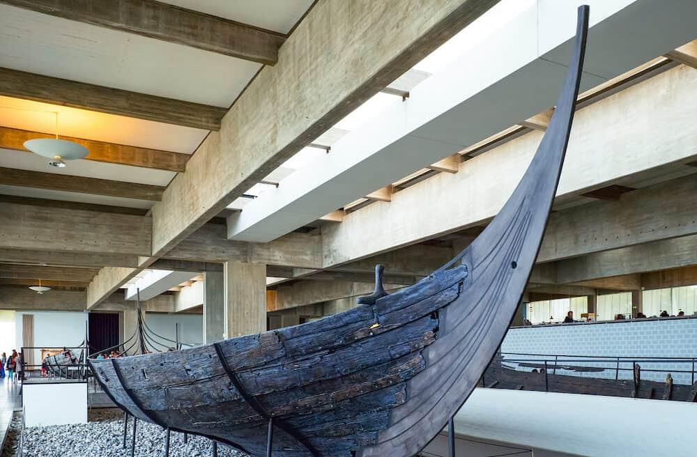 Roskilde Denmark - Visitors in the Viking Ship Museum