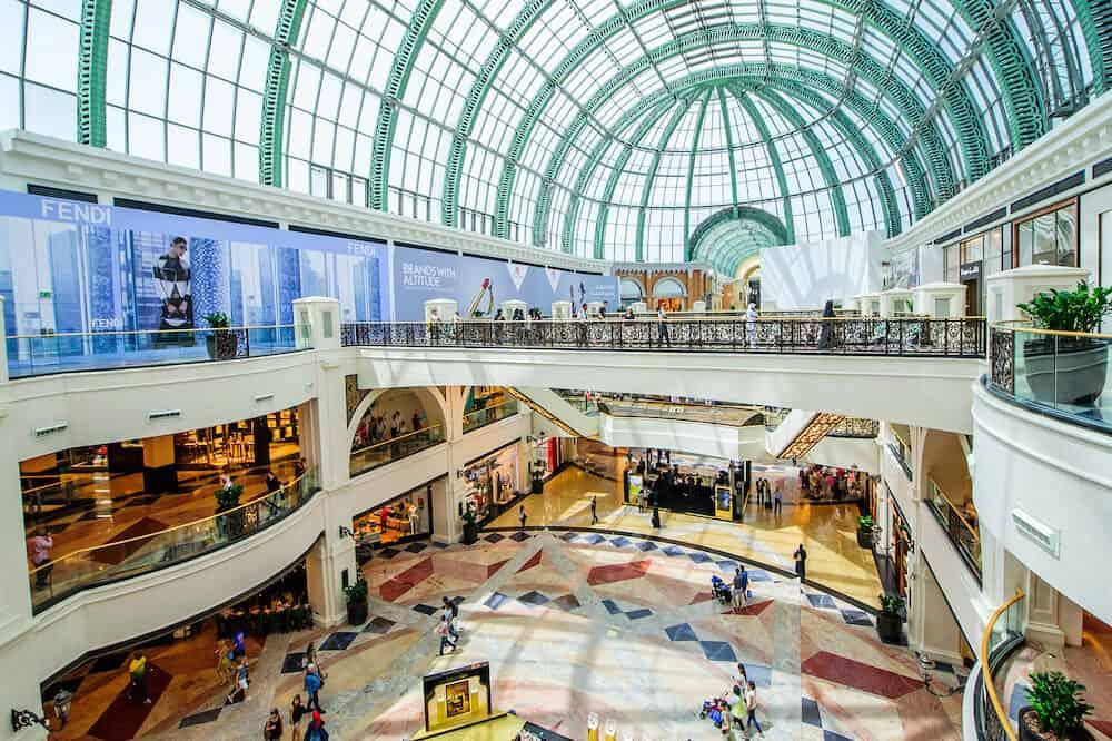 DUBAI, UAE - Mall of the Emirates interior in Dubai, United Arab Emirates. Mall of the Emirates is a shopping mall in the Al Barsha district of Dubai.