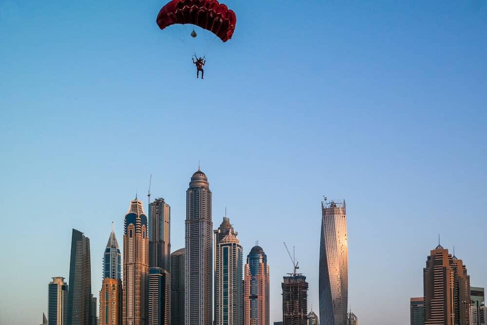 Dubai, UAE - Dubai fun parachuting activities