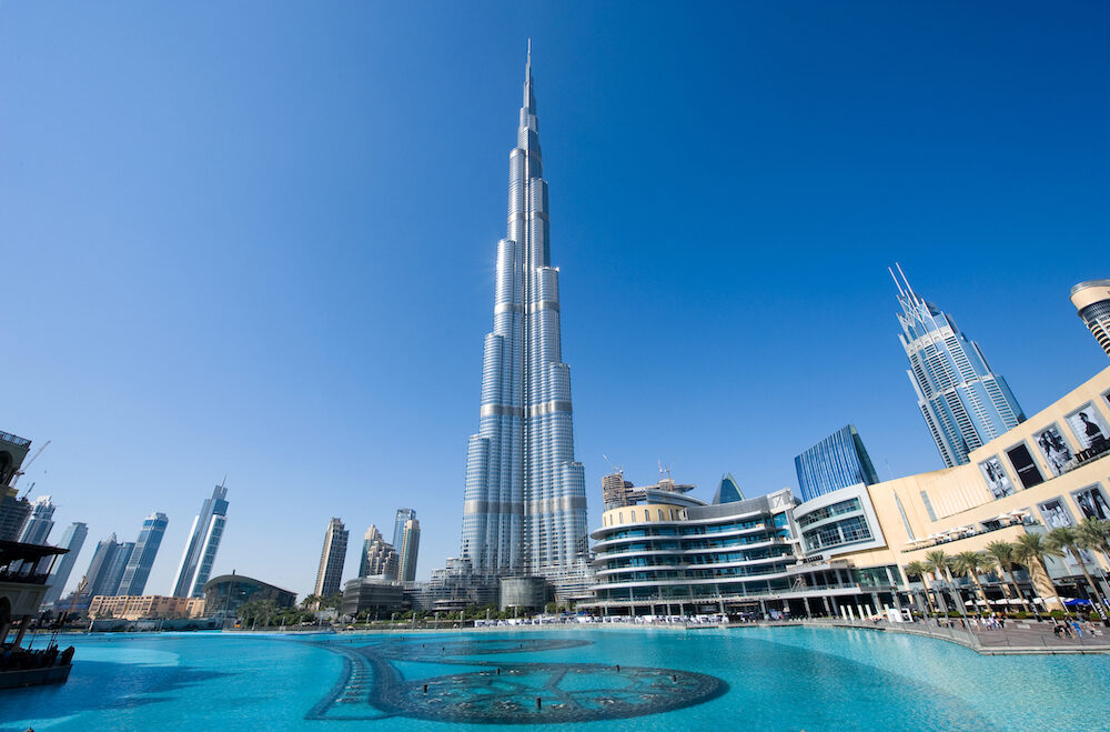 DUBAI, UNITED ARAB EMIRATES - : The Burj Khalifa in the center of Dubai is the tallest building in the world with 828 meters high.