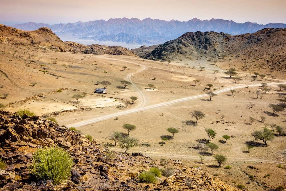 View over valley in Al Hajar mountains in Fujairah, UAE