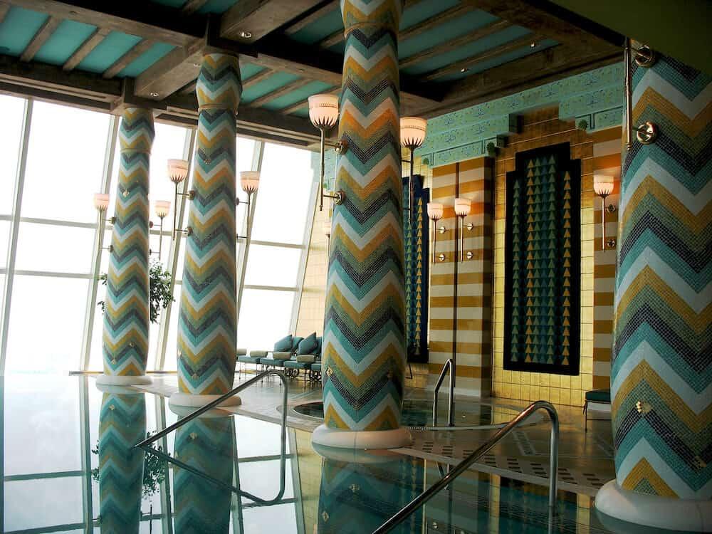 dubai, uae - assawan spa and health club in burj al arab hotel in dubai. burj al arab is a luxury 7 stars hotel and one of the most luxurious in the world.