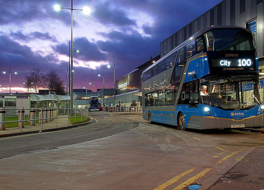 Edinburgh, Scotland - A modern double-decker bus at the Edinburgh airport stop.Bus from Edinburgh airport.
