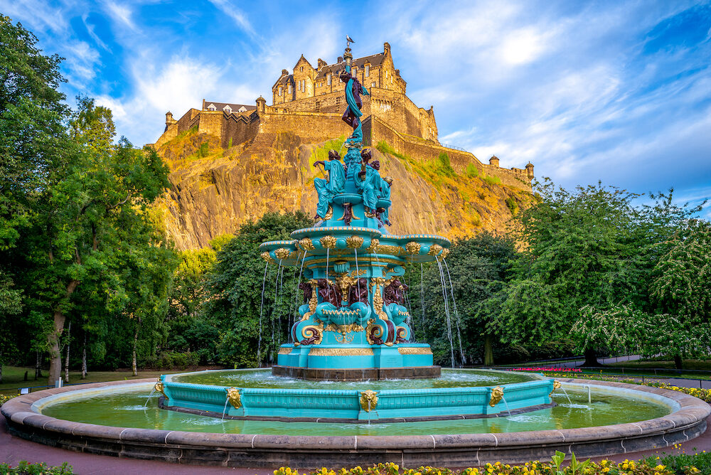 Edinburgh Castle and Ross Fountain in Edinburgh, Scotland
