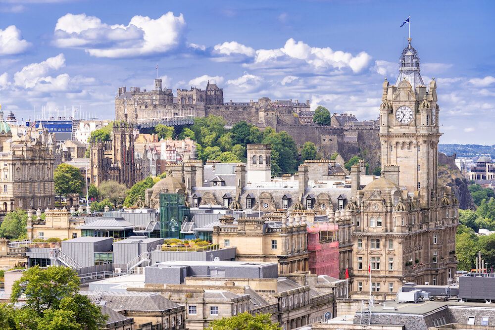 Edinburgh Castle with Cityscape from Calton Hill, Edinburgh, Scotland UK
