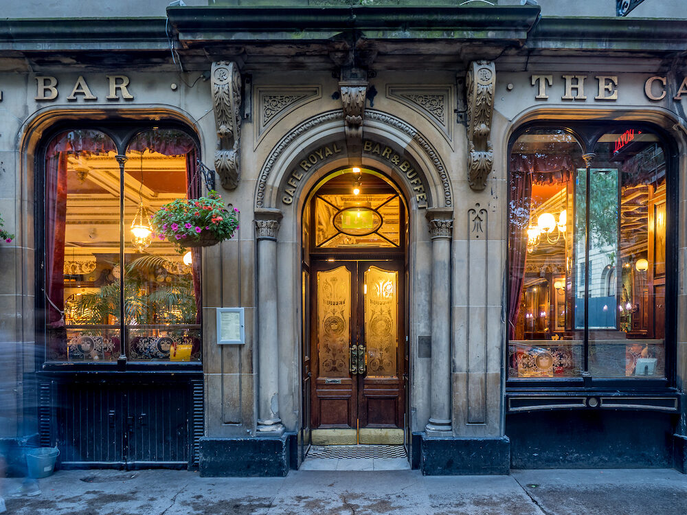 EDINBURGH, SCOTLAND - : The famous Royal Cafe in Edinburgh's New Town on July 27, 2017 in Edinburgh Scotland. The Royal Cafe serves fine Scottish food in architectural style.