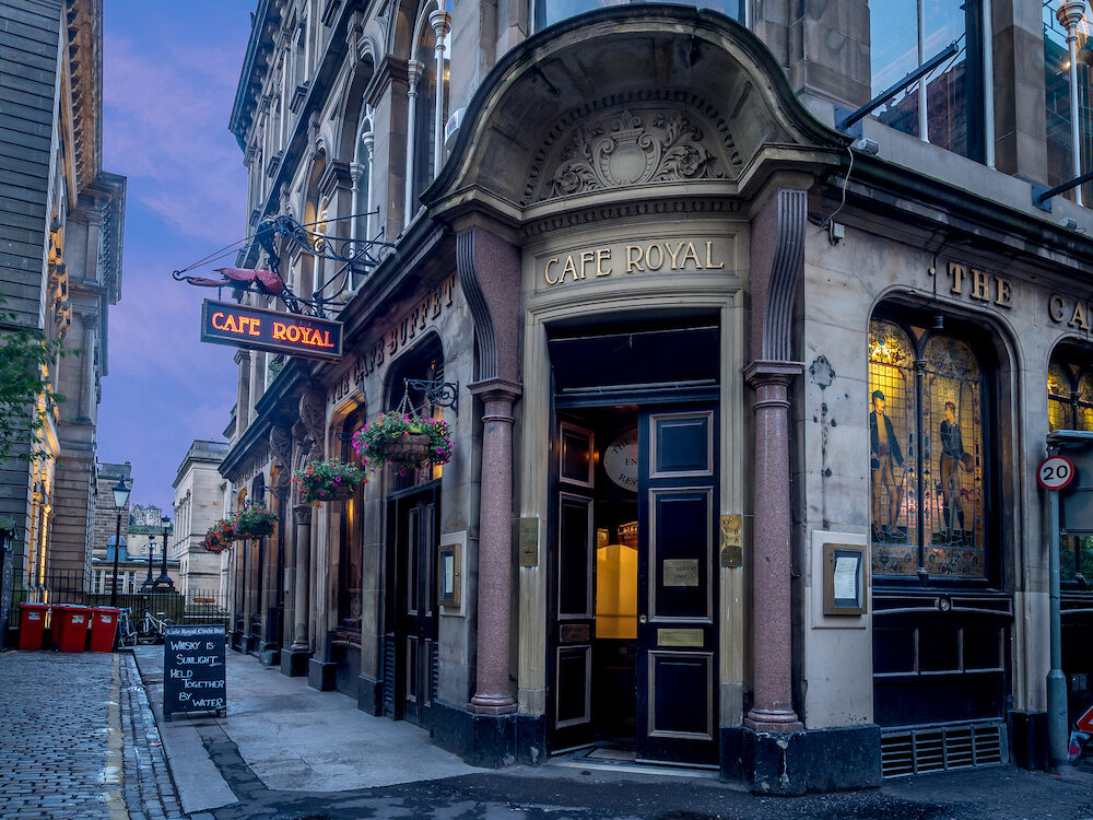 EDINBURGH, SCOTLAND - The famous Royal Cafe in Edinburgh's New Town on July 27, 2017 in Edinburgh Scotland. The Royal Cafe serves fine Scottish food in architectural style.