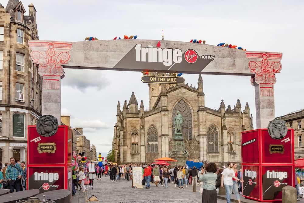EDINBURGH, SCOTLAND - : Attendees flood the streets at the Edinburgh Fringe Festival in Edinburgh, Scotland.
