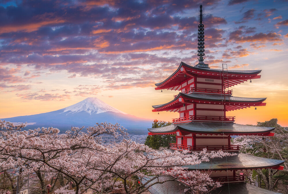 Mount Fujisan beautiful landscapes on sunset. Fujiyoshida, Japan at Chureito Pagoda and Mt. Fuji in the spring with cherry blossoms. Mount fuji landscapes japan, Mount fuji landscapes japan sunset, Mount fuji landscapes japan sakura. Mount fuji landscapes