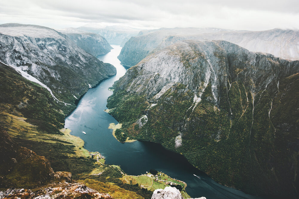 Landscape fjord and mountains in Norway aerial view Naeroyfjord beautiful scenery scandinavian wild nature landmarks
