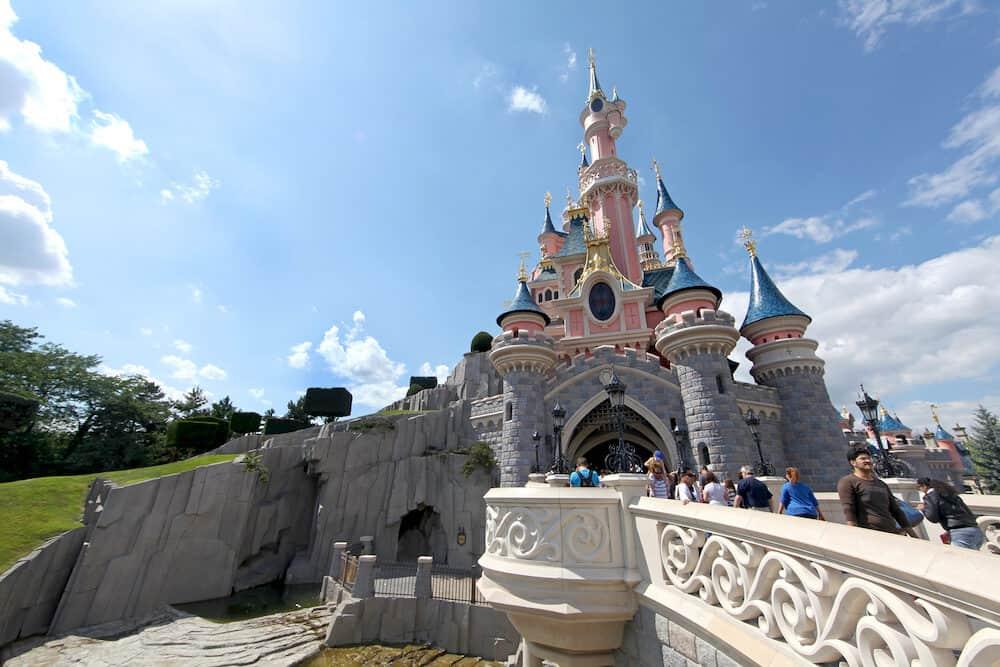 PARIS FRANCE - The Disneyland Paris Castle freshly painted on July 1st 2011.