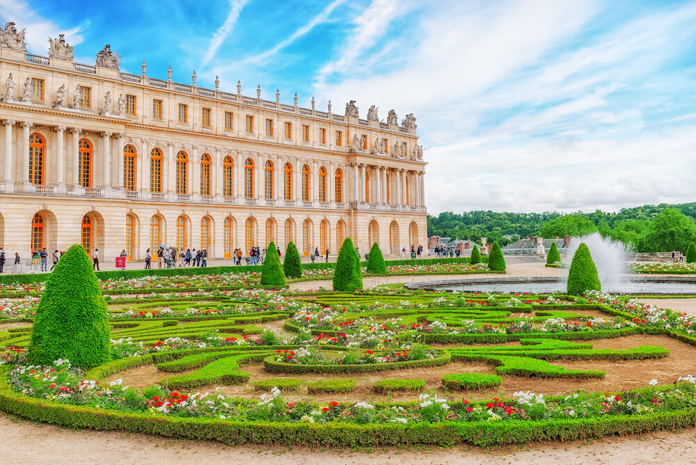 VERSAILEES FRANCE- : Main entrance of Versailles. Palace Versailles was a Royal Chateau-most beautiful palace in France and word. France.