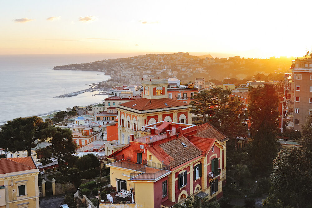 Naples panoramic view of Posillipo hill at sunset Italy