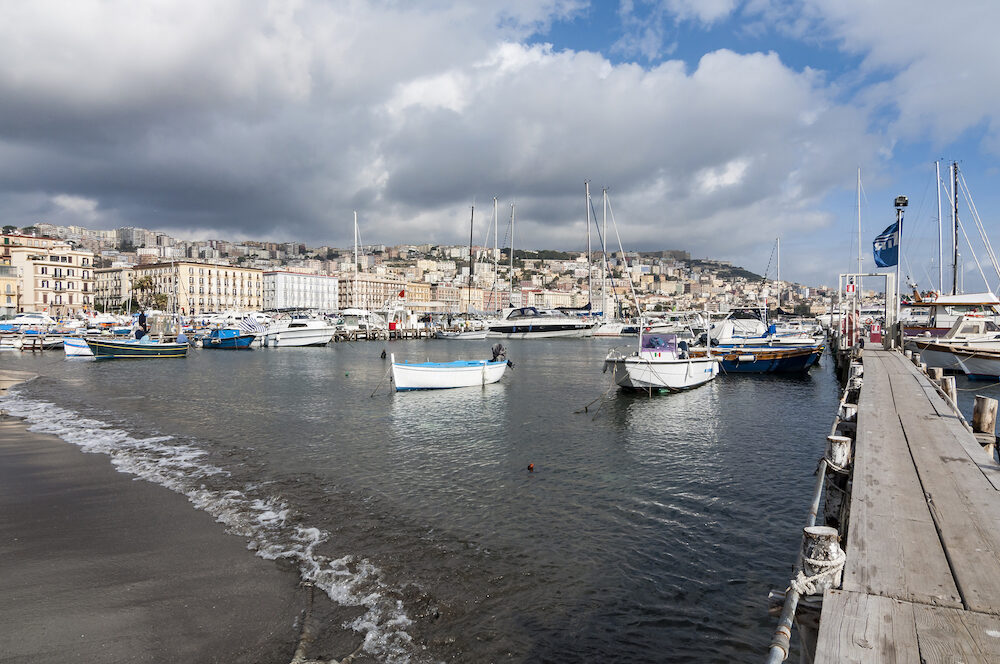 NAPLES, ITALY - View of the marina and touristic harbor of Mergellina, in the city of Naples, Italy