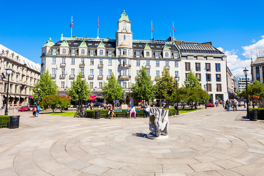OSLO, NORWAY - Grand Hotel in Oslo, Norway. Grand Hotel is best known as is the annual venue of the winner of the Nobel Peace Prize.