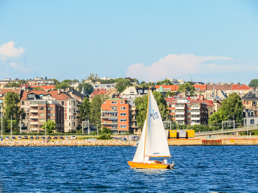 OSLO, NORWAY - Sailing yacht at the Oslo Fjord, Norway. Landscape of Norway fjord on summer day. View of the Oslo seacoast