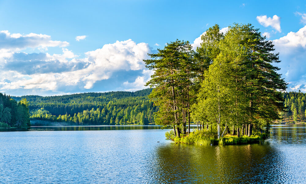 View of Sognsvann lake north of Oslo, Norway