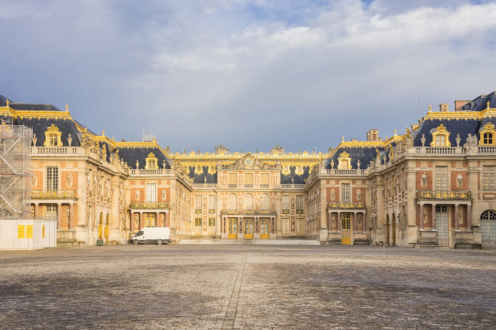 VERSAILLES, FRANCE - Outside view of Famous palace Versailles. The Palace Versailles was a royal chateau. It was added to the UNESCO list of World Heritage Sites. Paris, France