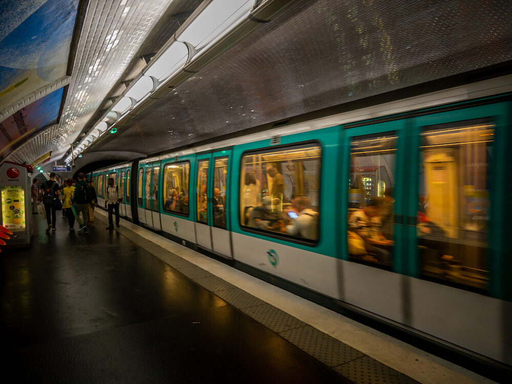 Paris, France - The moving Metro train in Paris, France. Metro is very popular transport in Paris and the 2nd largest underground system worldwide by number of stations (300).