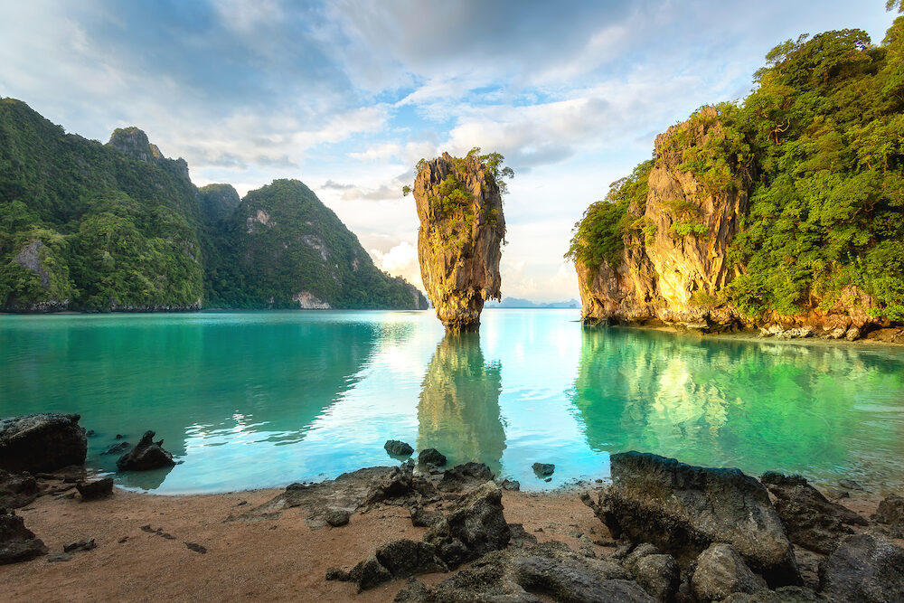 James Bond island, Phuket Thailand nature. Asia travel photography of James Bond island in Phang Nga bay. Thai scenic exotic landscape of tourist destination famous place.