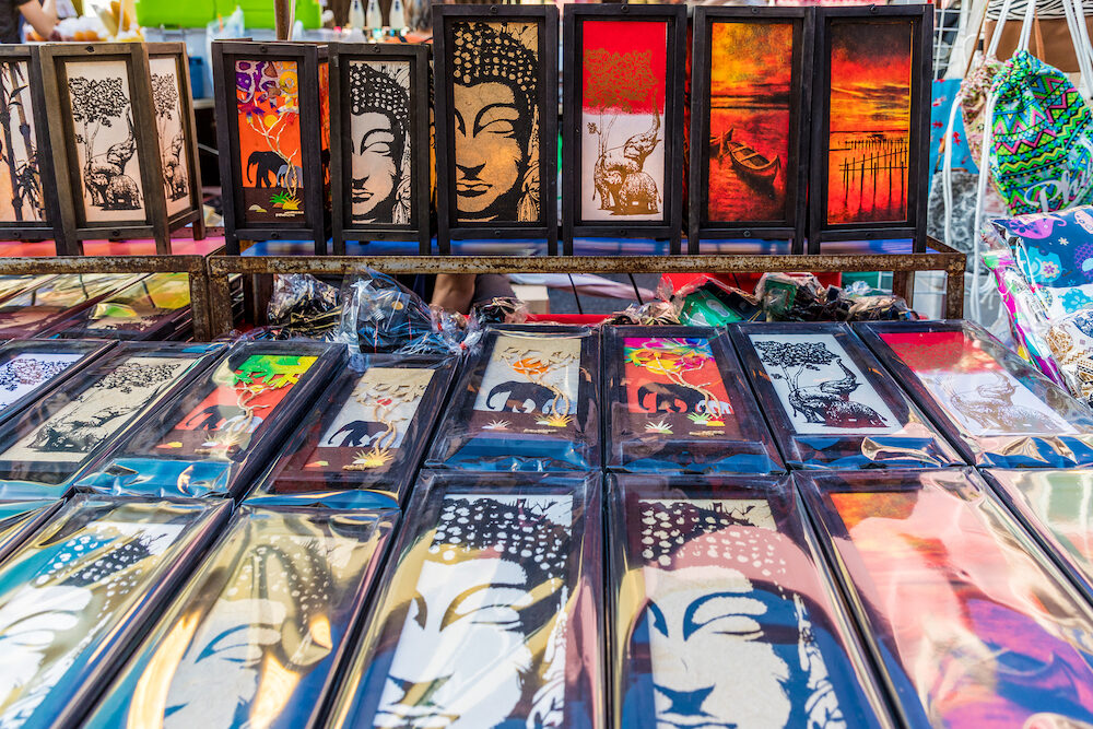 Phuket Town Thailand. A View of Thai souvenirs for sale at the Sunday walking street market in Phuket Old Town