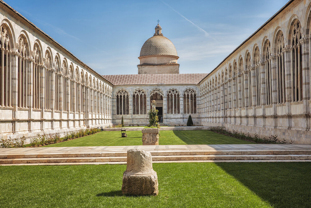 Pisa, Italy - : Campo Santo or Camposanto Vecchio (old cemetery) is a historical edifice at the northern edge of the Pisa Cathedral Square