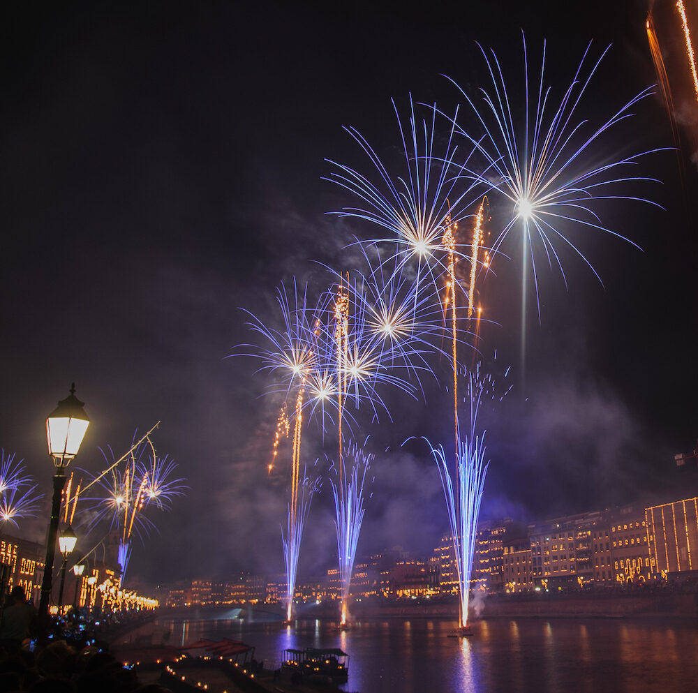 Display of Fireworks during the Luminara Festival in Pisa, Italy.