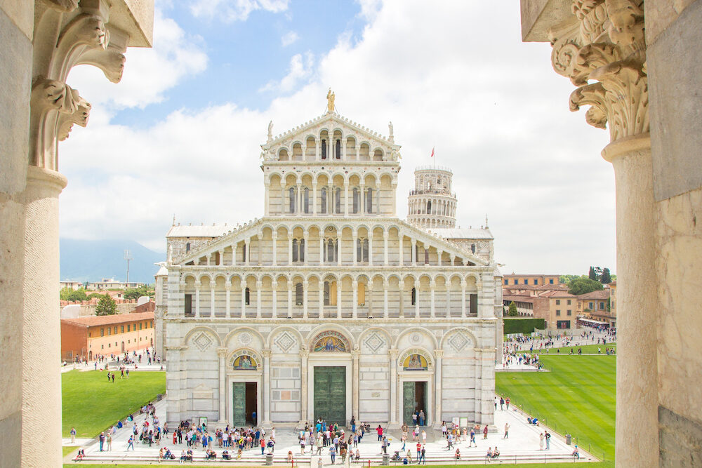 Pisa, Italy -View from Pisa Baptistery of St. John (Battistero di San Giovanni) on the Pisa Cathedral (Duomo di Pisa).