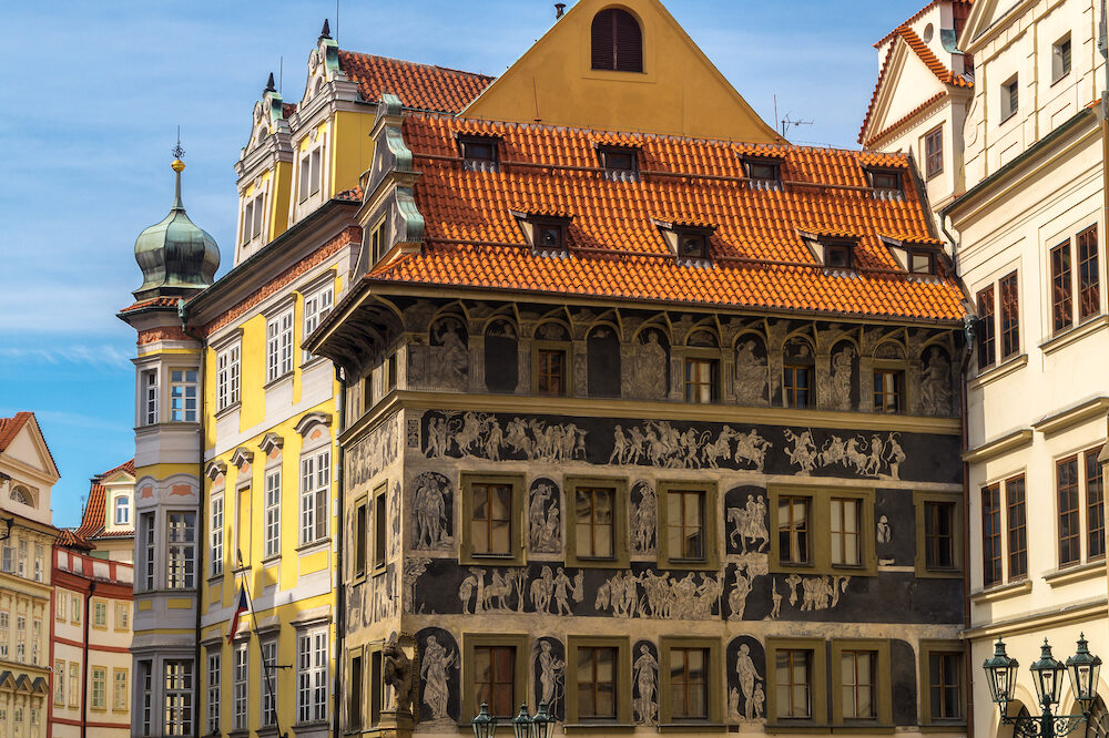 Historic houses in the centre of Prague Czech republic. Architectural theme.