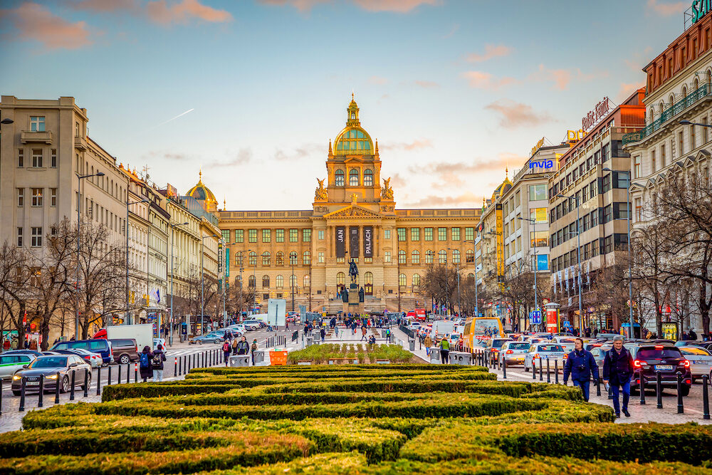 Prague, Czech Republic - : People on Wenceslas Square at sunset lights in Prague in Czech Republic.