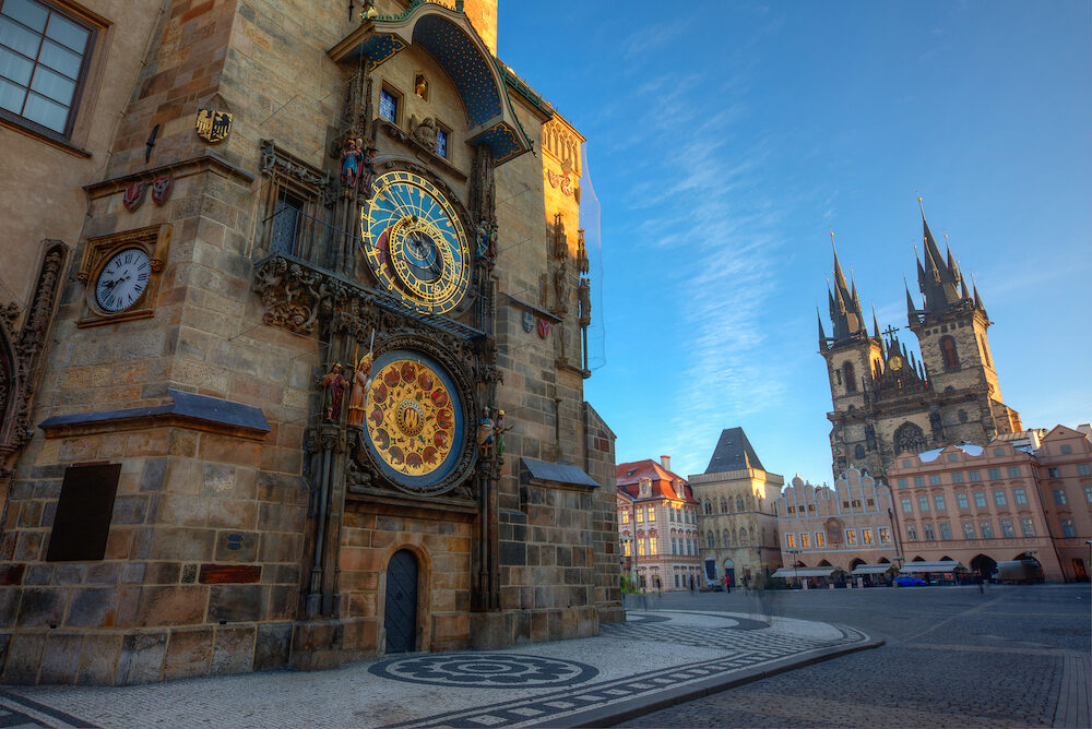 Prague Old Town Square, sunrise at Astronomical Clock Tower, Czech republic, Europe.