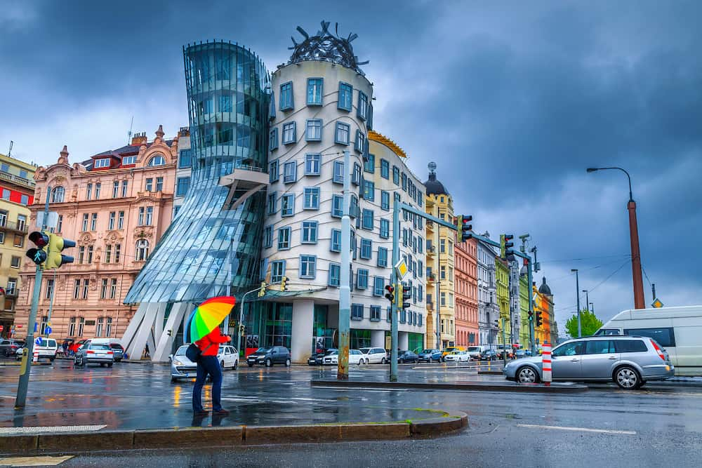 Tourist people with rainbow colored umbrella in a rainy day at crossroad near famous Dancing house, Prague, Czech Republic, Europe