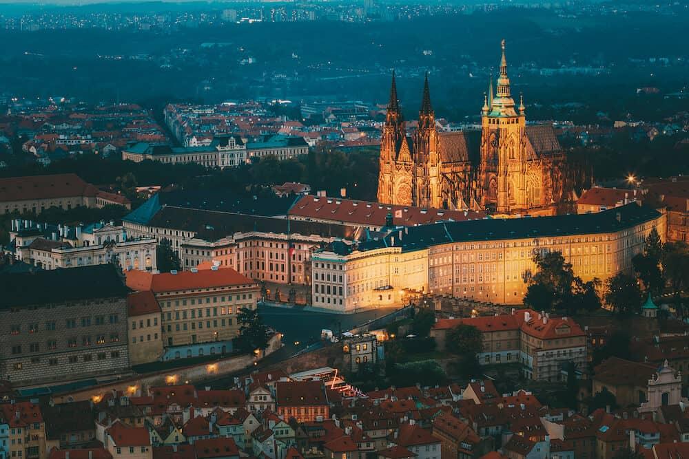 View of Prague, Czech Republic. Castle, St. Vitus Cathedral. Aerial view to Lesser Town, Prague castle and St. Nicholas church.