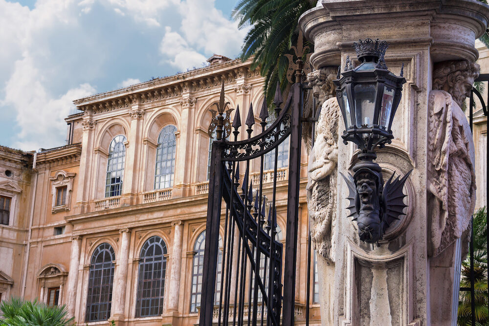 Gate of the famous and luxurious Palazzo Barberini in Rome Italy