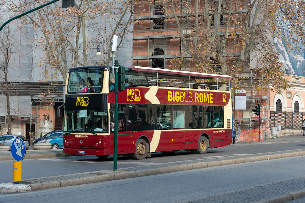 ROME, ITALY - sightseeing bus in Rome, ITALY
