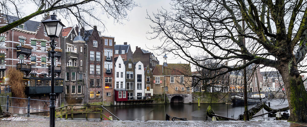 Cityscape, panorama - view of the city Rotterdam and its old district Delfshaven, South Holland, The Netherlands