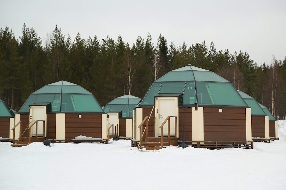 SINETTA, FINLAND - Glass Igloos at Arctic Snow Hotel in Finnish Lapland. Arctic SnowHotel is located on the Arctic Circle in Finnish Lapland.