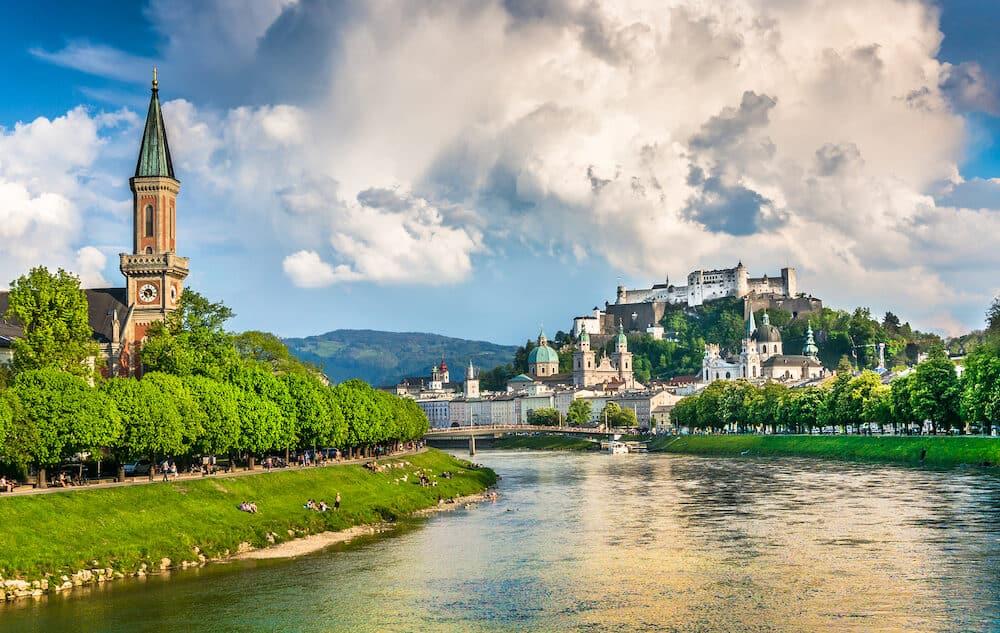Beautiful view of Salzburg skyline with Festung Hohensalzburg and Salzach river in summer Salzburg Salzburger Land Austria