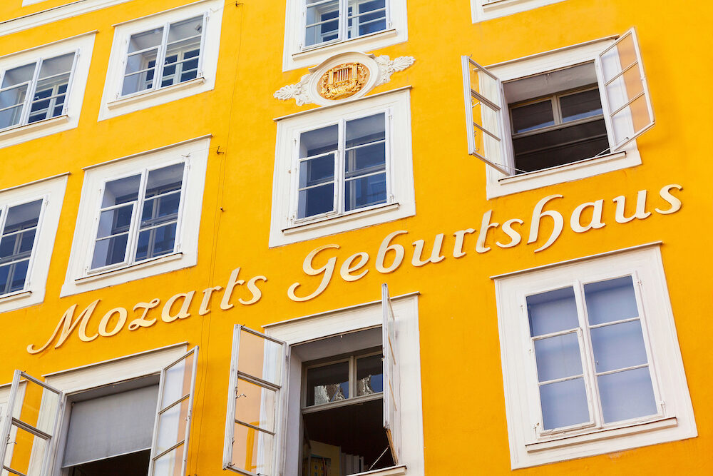 SALZBURG AUSTRIA - Birthplace of Wolfgang Amadeus Mozart on August 28 2012 in Salzburg Austria. Mozart is known to be one of the most brilliant composers of the Classical Era.