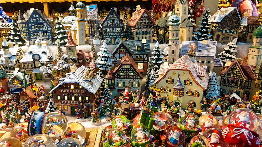 SALZBURG, AUSTRIA - Christmas decoration for sale on advent market. Decorative miniature city houses. Austria, Salzburg