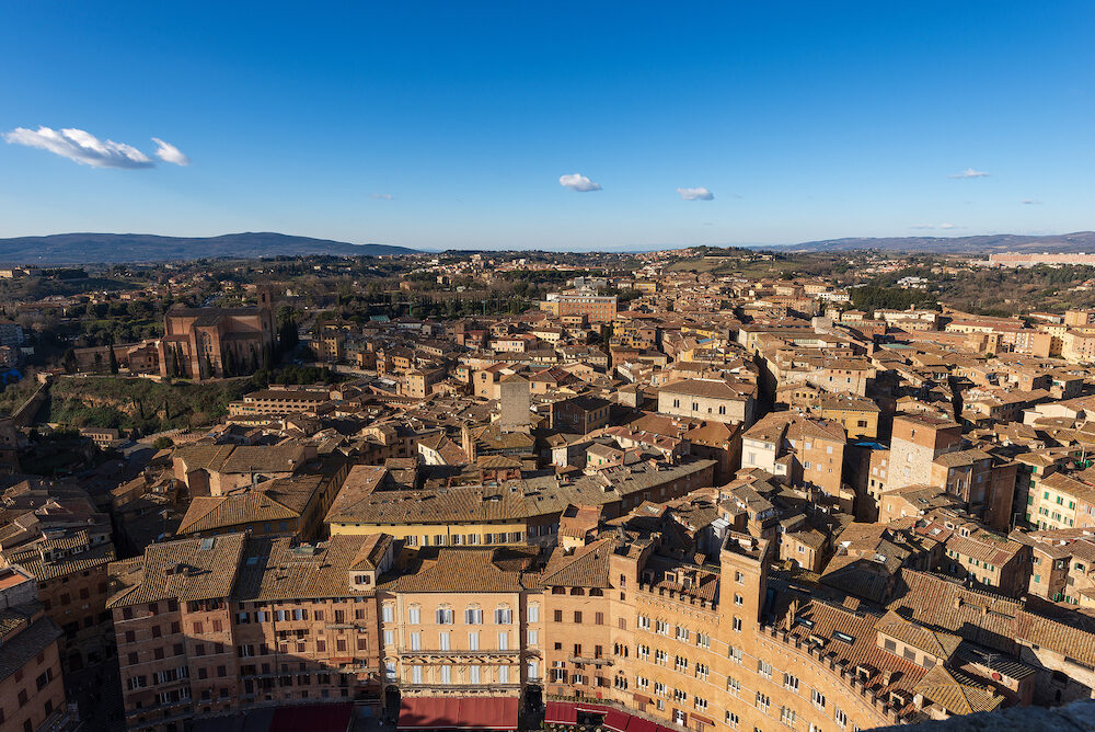 Aerial view of the ancient town of Siena from the Torre del Mangia. Toscana (Tuscany), Italy