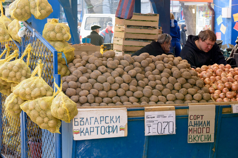 Sofia, Bulgaria -: Sofia Bulgaria - Potatoes for sale on market stall in Zhenski Pazar Sofia