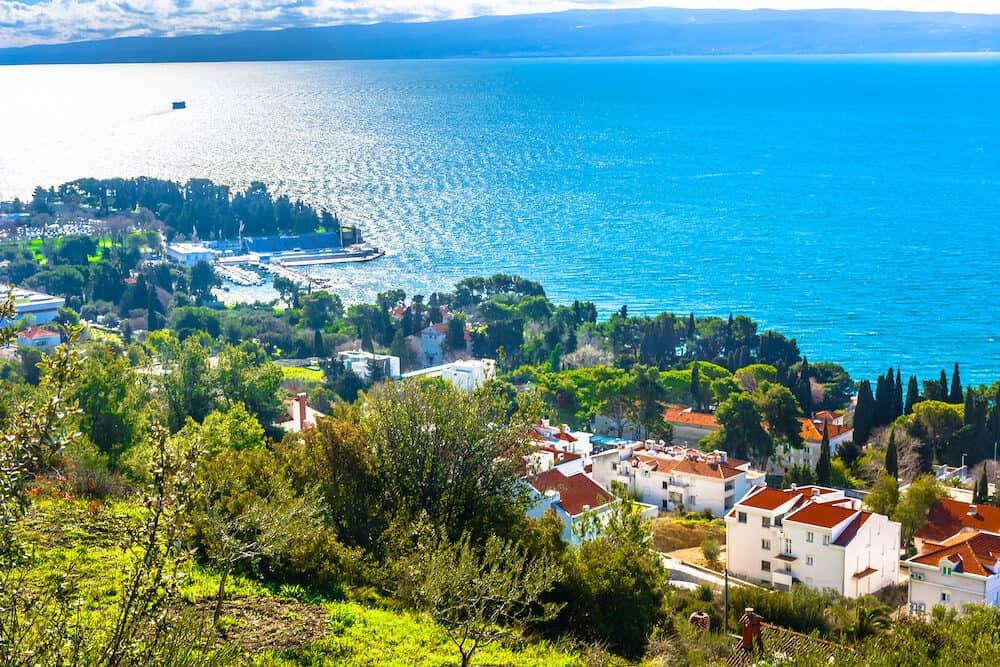 Aerial view at Adriatic Coast in Dalmatia region, Mediterranean, popular travel summer destinations.