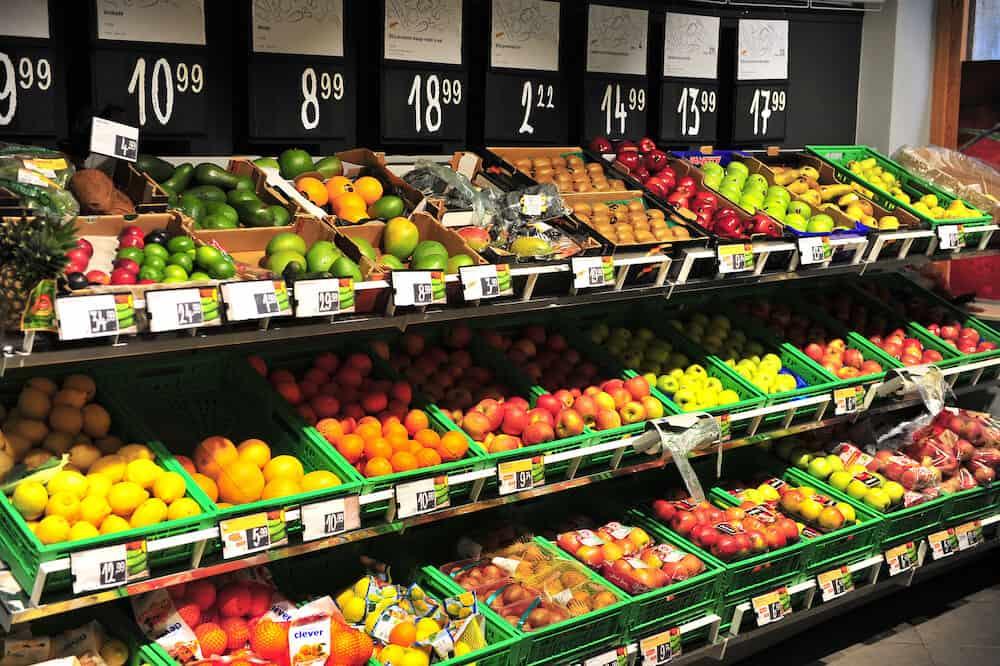 SPLIT, CROATIA - Fruits in the shelfs of grocery store, Split, Croatia