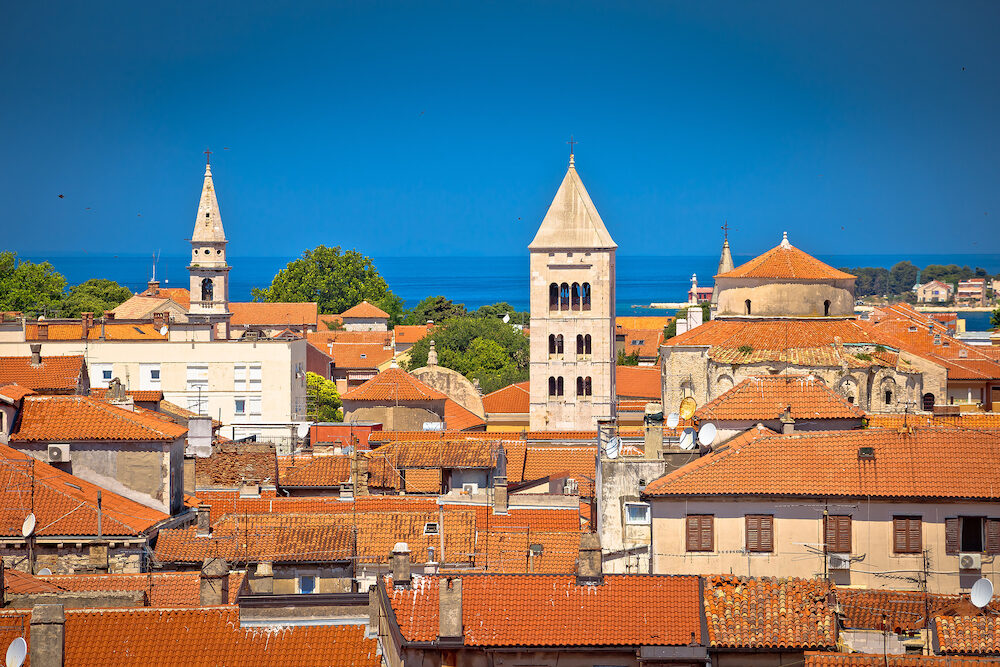 Historic Zadar towers and rooftops view, Adriatic coast in Dalmatia region Croatia